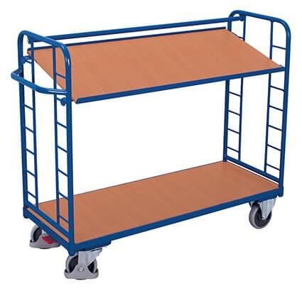 Etagenwagen VARIOfit®, 2 Holzböden, bis 250 kg Traglast, Böden neigbar