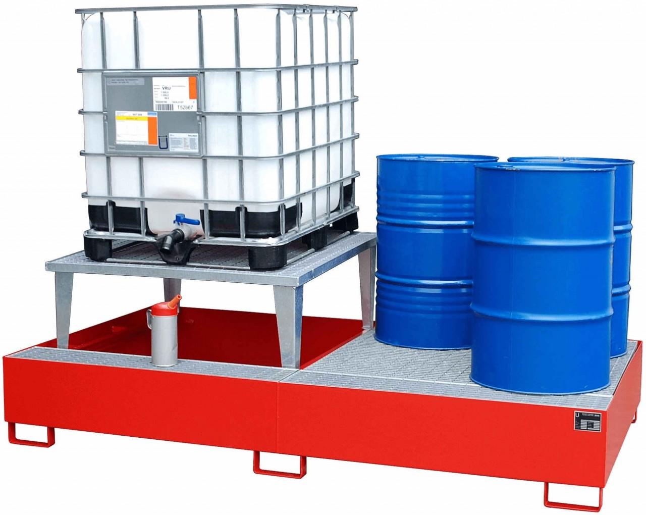 Auffangwanne mit bis zu 2 Abfüllaufsätzen für Fässer a 200l und IBC/KTC Container, Typ AWA 1000-2