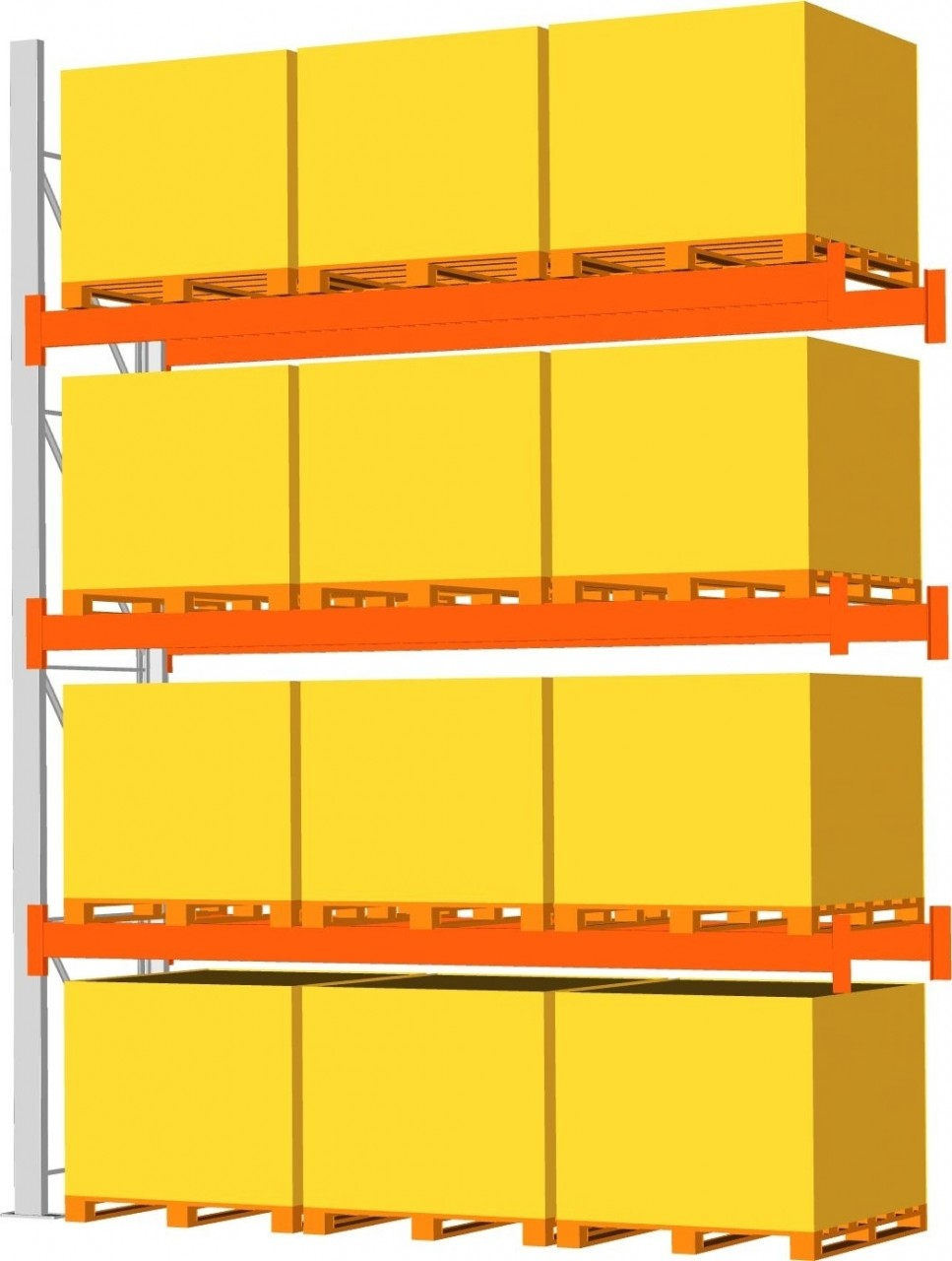 Anbauregal META MULTIPAL,HxBxT 3300x2700x1100mm, 3 Trägerpaare, Paletten bis 800 kg