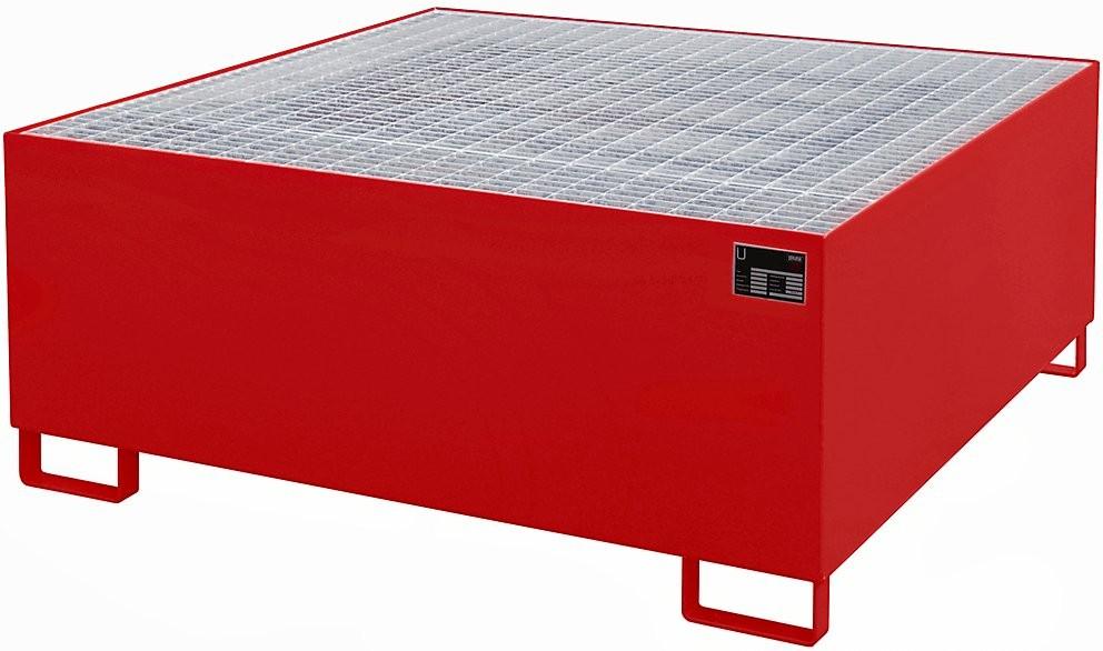Auffangwannen mit bis zu1000l Aufangsvolumen, für Fässer und IBC/KTC Container, mit Gitterrost