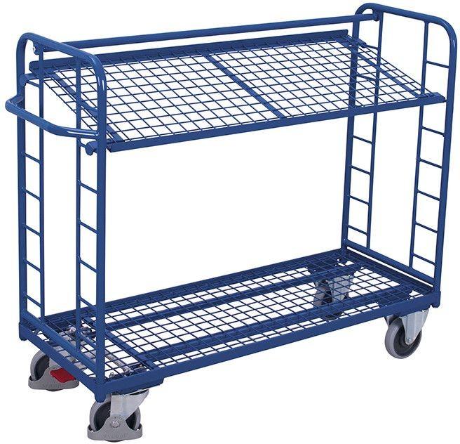 Etagenwagen VARIOfit®, 2 Drahtgitterböden, bis 400 kg Traglast, Böden neigbar