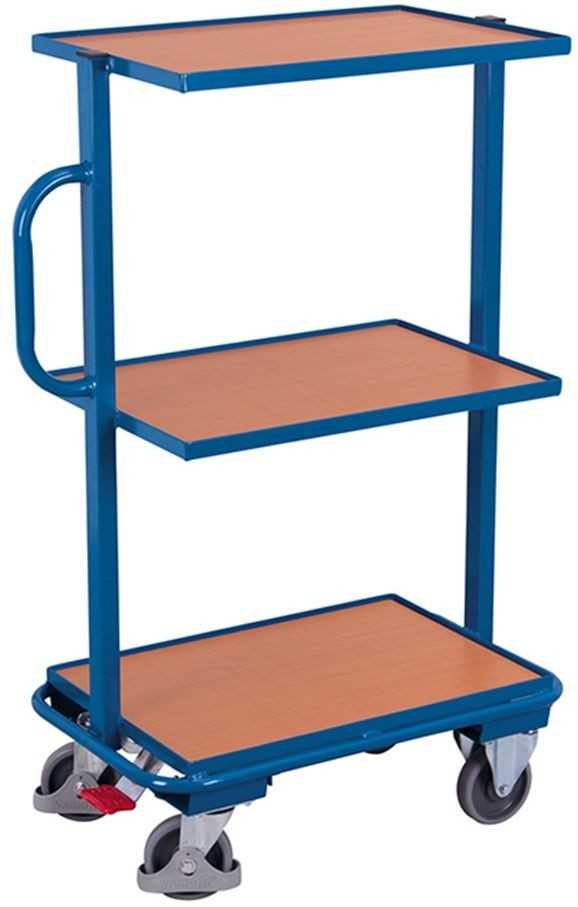 Beistellwagen VARIOfit®, 3 Holzböden, 200 kg Traglast