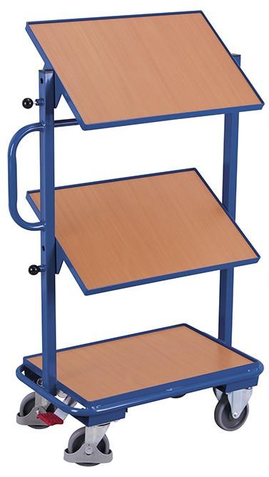 Beistellwagen VARIOfit®, neigbare Holzböden, 200 kg Traglast
