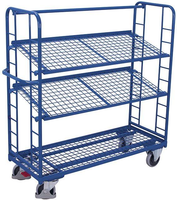 Etagenwagen VARIOfit®, 3 Drahtgitterböden, bis 400 kg Traglast, Böden neigbar