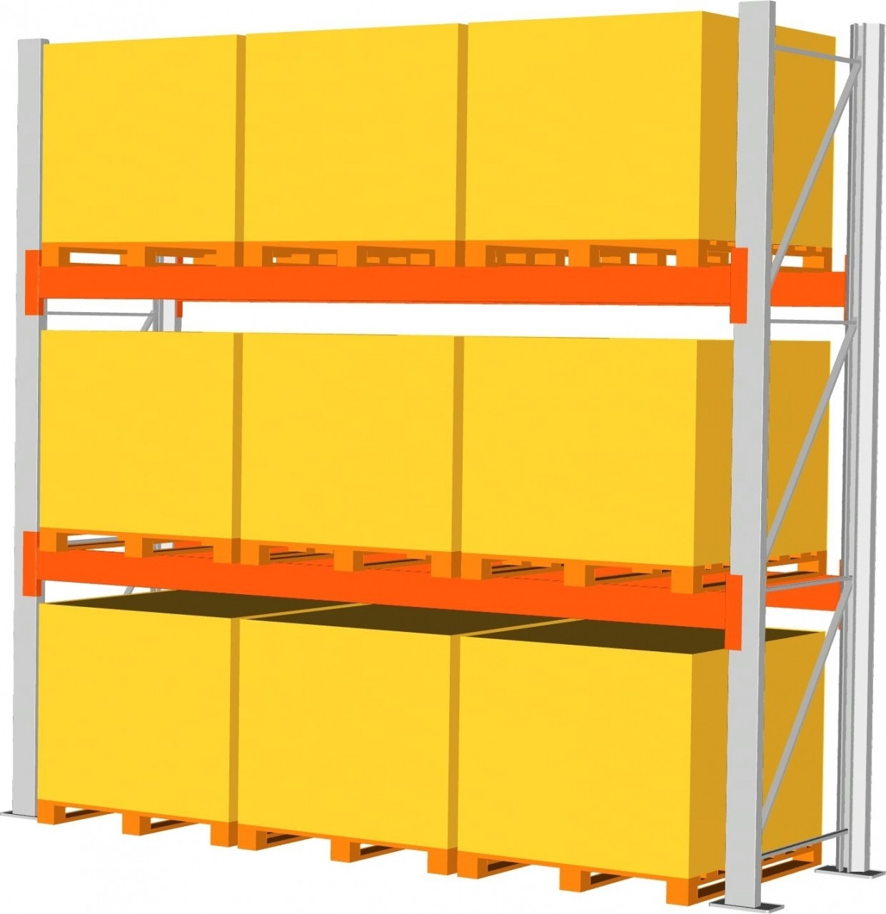Grundregal META MULTIPAL, bis 9 Paletten a 1000 kg, HxT 4400x1100 mm, 2 Trägerpaare