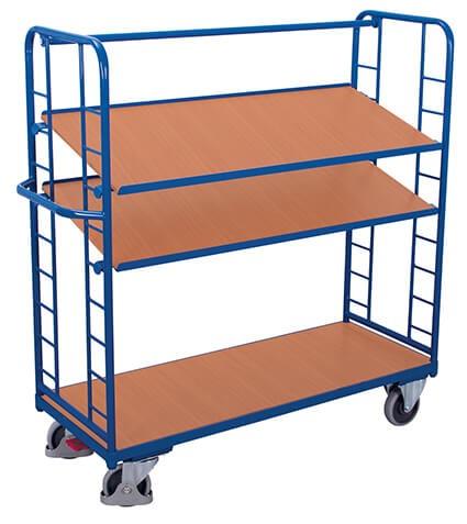 Etagenwagen VARIOfit®, 3 Holzböden, bis 400kg Traglast, Böden neigbar