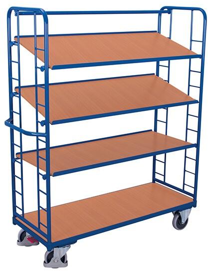 Etagenwagen VARIOfit®, 4 Holzböden, bis 400 kg Traglast, Böden neigbar