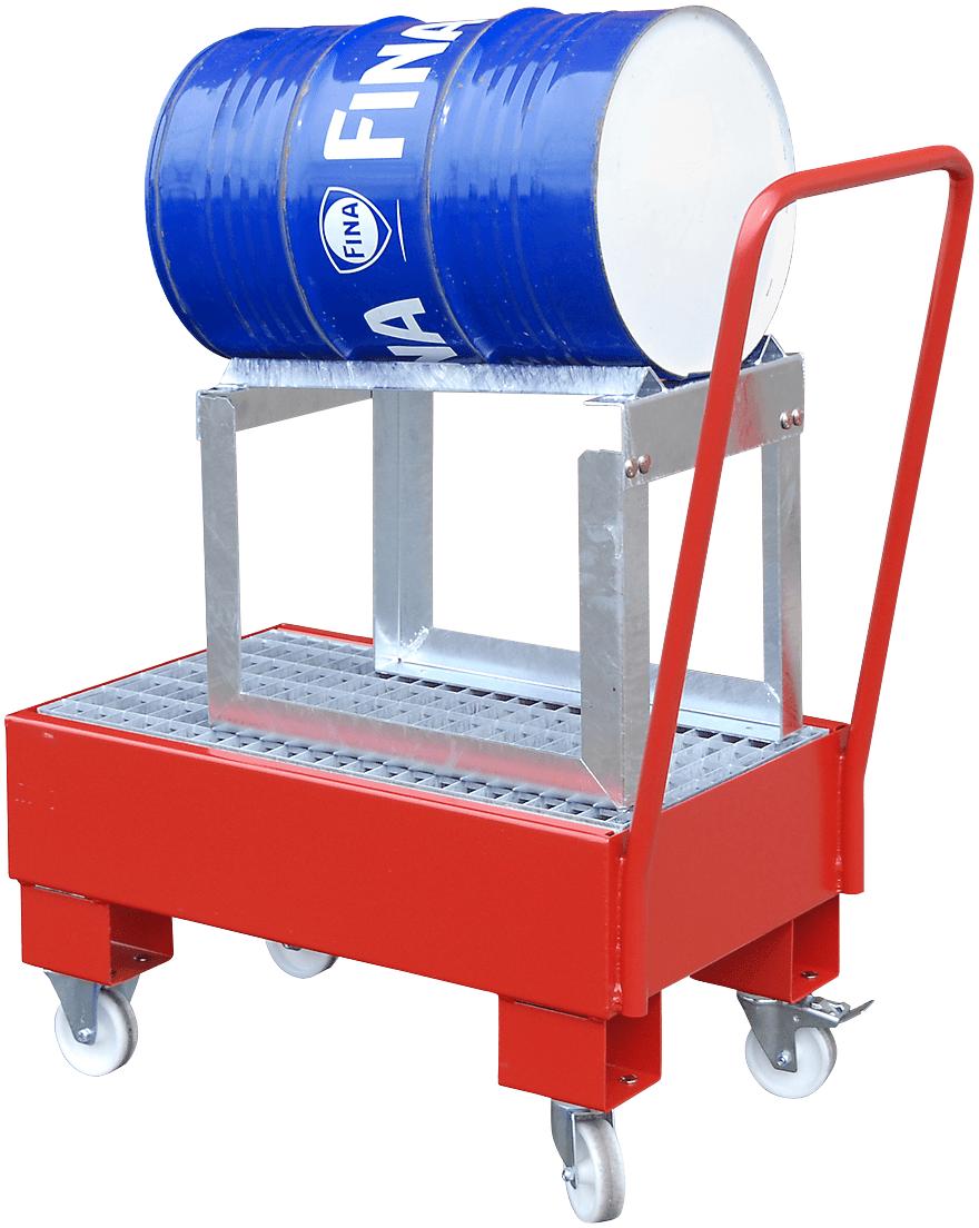 fahrbare Auffangwanne für ein Fass a 60l, LxBxH 800x500x415mm, Aufangvolumen 60l, Typ AW 60 SRF