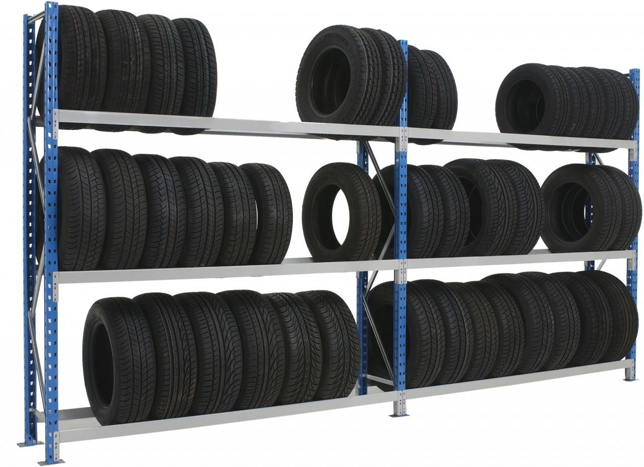 Anbau-Reifen-Weitspannregalregal Epsivol, HxT 2250x400mm, 3 Ebenen, beidseitig