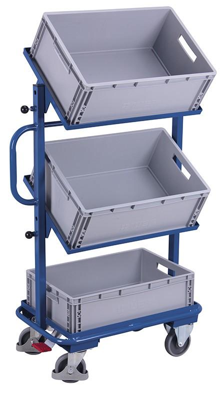 Beistellwagen VARIOfit®, neigbar mit Kunststoffkisten, bis 200 kg Traglast