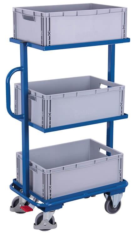 Beistellwagen VARIOfit®, 3 Kunststoffkisten, bis 200 kg Traglast