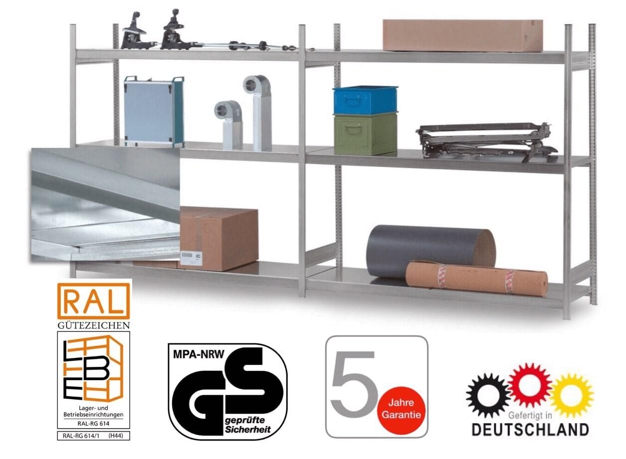 Komplettpaket, Großfachregal, H x L 2500 x 4000 mm, 8 Stahlböden, Stecksystem