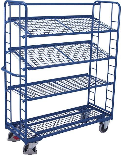 Etagenwagen VARIOfit®, 4 Drahtgitterböden, bis 400 kg Traglast, Böden neigbar