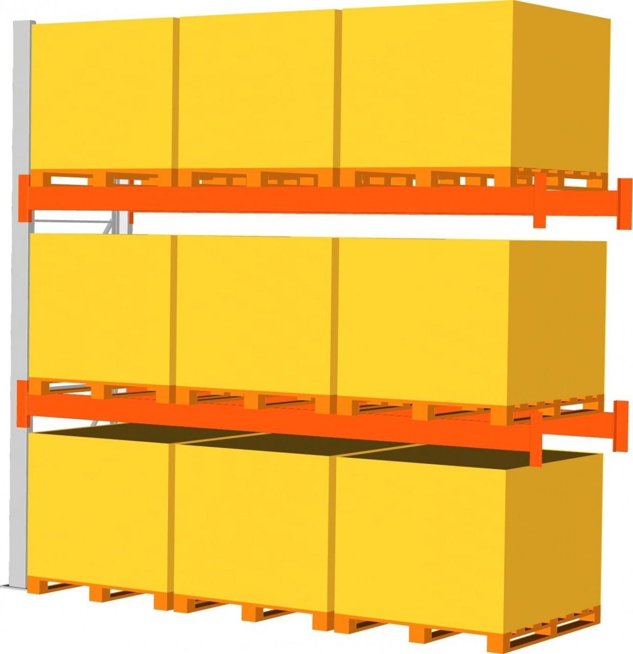 Anbauregal META MULTIPAL, bis 9 Paletten a 1000 kg, HxT 4400x1100 mm, 2 Trägerpaare