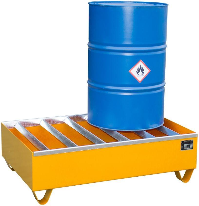 Auffangwanne zur Lagerung von max. 4 Fässern a 200l, Profile als Standfläche, Typ PW
