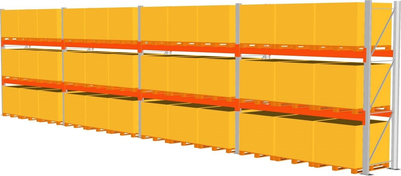 Komplettpaket Palettenregal META MULTIPAL, Paletten bis 1000 kg, 2 Trägerpaare,HxT 4400x1100mm