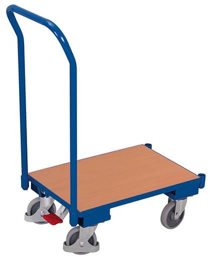 Transportroller VARIOfit®, Holzboden, Schiebebügel, 250 kg Traglast