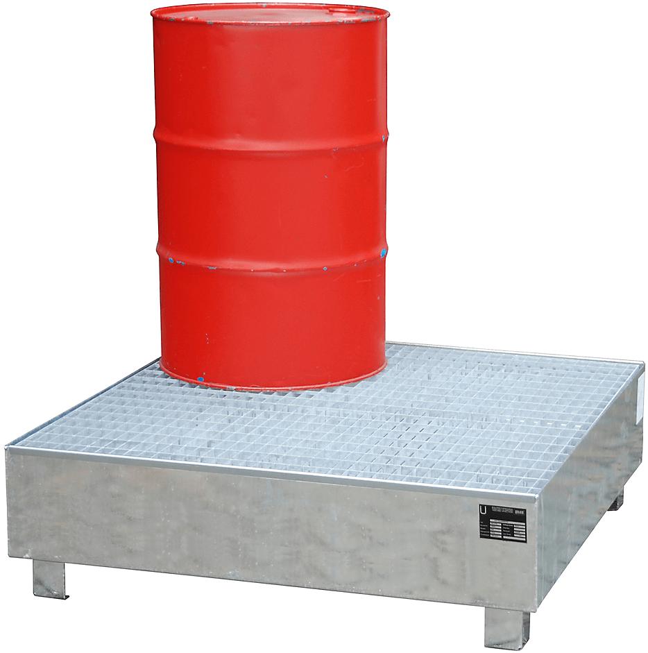 feuerverzinkte Auffangwannen, zur sicheren Lagerung von 200l Fässern, mit Gitterrost