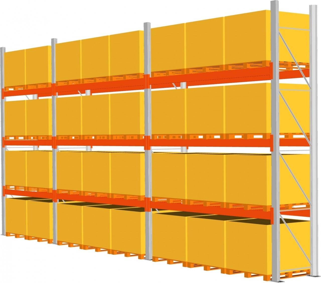 Komplettpaket Palettenregal META MULTIPAL, Paletten bis 1000 kg, HxT 4400x1100mm,